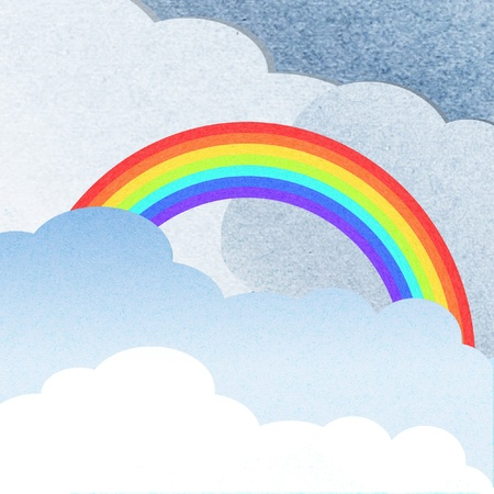 recycle paper cloud and rainbow Stock Photo - 13042242