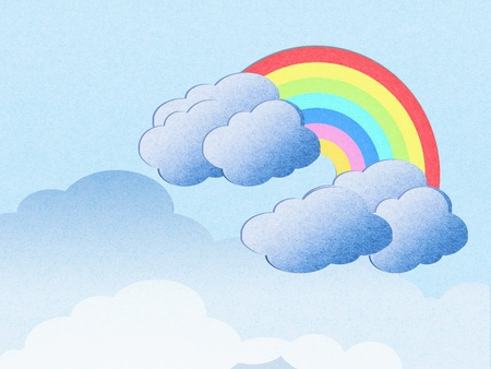 recycle paper cloud and rainbow background photo