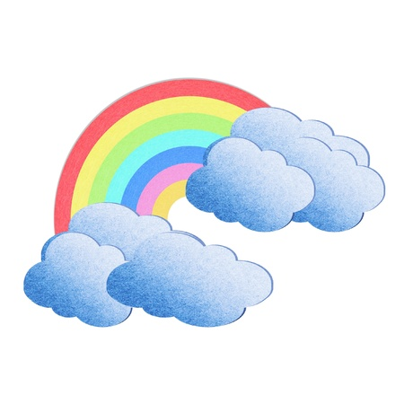 recycle paper cloud and rainbow on white background Stock Photo - 13042241