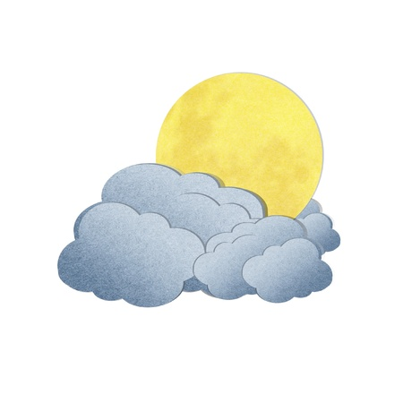Grunge recycled paper moon and cloud on white background photo