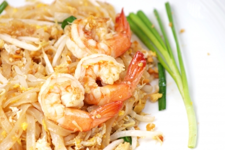 Thai food style , stir-fried rice noodles  Pad Thai  Stock Photo