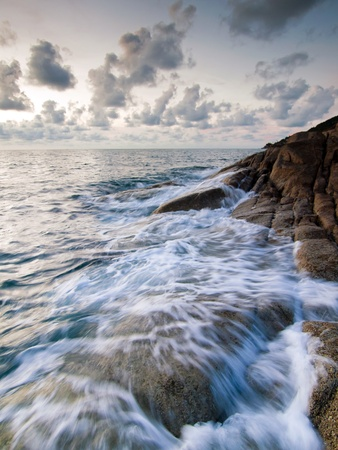 Beautiful seascape  Sea and rock at the sunset Stock Photo - 13327862