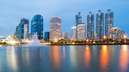 Bangkok city downtown with reflection of skyline, Bangkok,Thailand photo