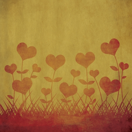 Heart flower on grunge background photo