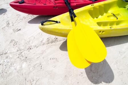 oar: Yellow kayak oar