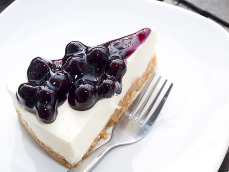 A Slice of Blueberry Cheesecake Stock Photo