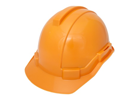 Orange Safety helmet isolated on white photo