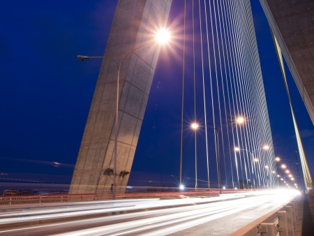 Mega sling Bridge,Rama 8, in bangkok Thailand.Long Exposure  at night photo