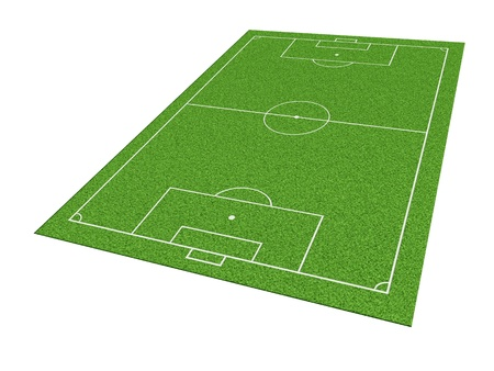 Soccer or football field isolate on white background photo