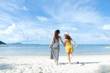 woman happy together on sand beach with blue sky background photo