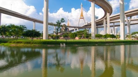 Bhumibol Bridge in Thailand,The bridge crosses the Chao Phraya River twice  photo