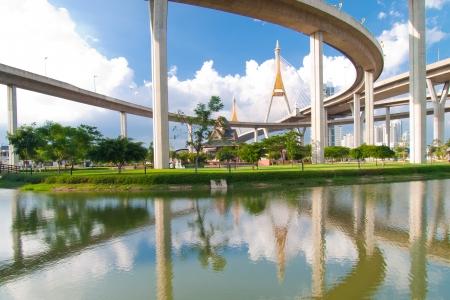 Bhumibol Bridge in Thailand,The bridge crosses the Chao Phraya River twice   public transportation bridge no trademark  photo