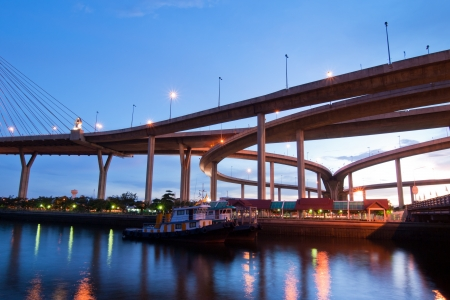 Boat on river with Bhumibol Bridge background  in twilight time  photo