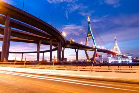Bhumibol Bridge, The Industrial Ring Road Bridge in Bangkok  Long Exposure at night  public transportation bridge no trademark  photo