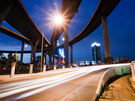 Bhumibol Bridge, The Industrial Ring Road Bridge in Bangkok  Long Exposure at night photo
