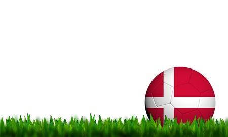 3D Football Denmark Flag Patter in green grass on white background photo