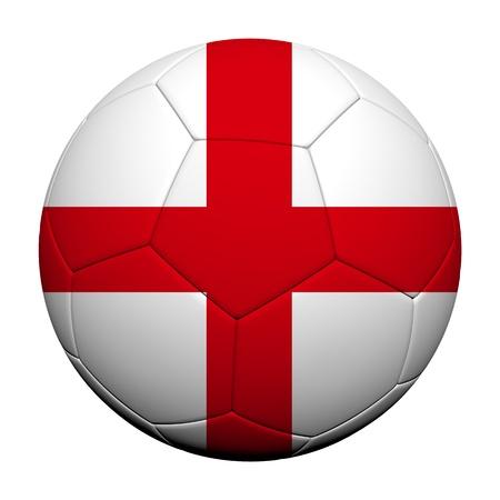England Flag Patroon 3D-rendering van een voetbal