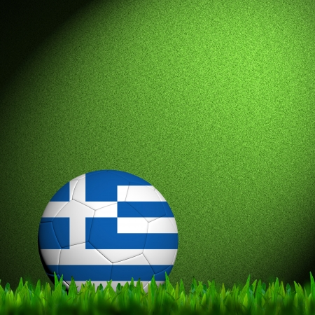 3D Football Greece Flag Patter in green grass photo