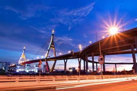 Bhumibol Bridge, The Industrial Ring Road Bridge in Bangkok. Long Exposure at night (public transportation bridge no trademark) photo