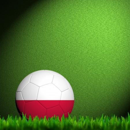 3D Football Poland Flag Patter in green grass  photo
