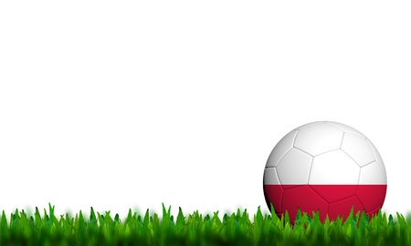 3D Football Poland Flag Patter in green grass on white background photo