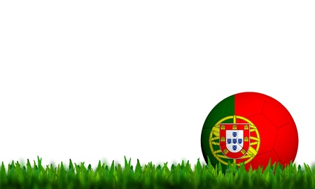 3D Football Portugal  Flag Patter in green grass on white background photo