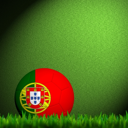 3D Football Portugal  Flag Patter in green grass  photo