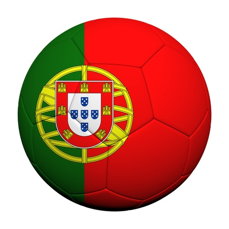 drapeau portugal: Drapeau du Portugal rendu 3d mod�le d'un ballon de football