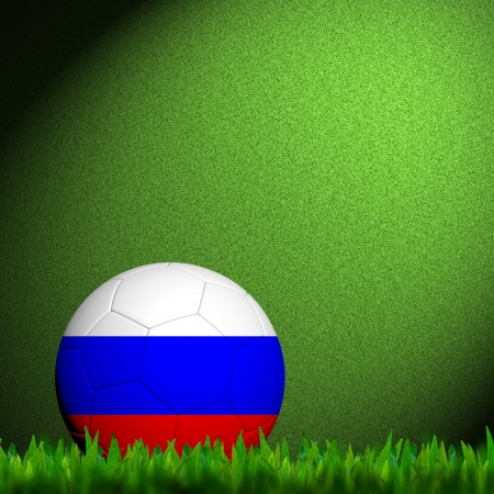3D Football Russia Flag Patter in green grass photo