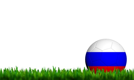 3D Football Russia Flag Patter in green grass on white background photo
