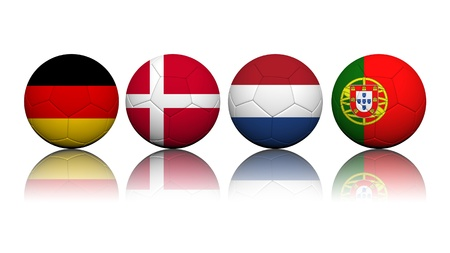 3D Rendering Soccer balls with flag pattern, European Soccer Championship Group B
