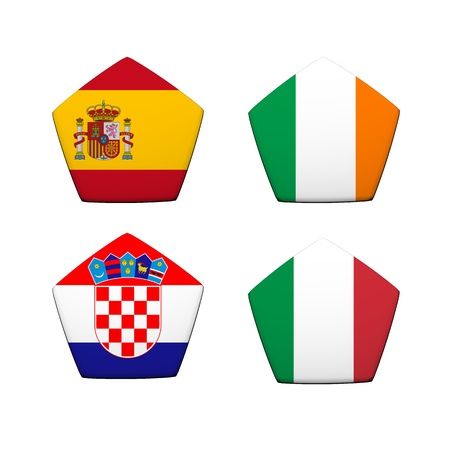 3d rendering a part of soccer ball with flag pattern, European Soccer Championship Group C