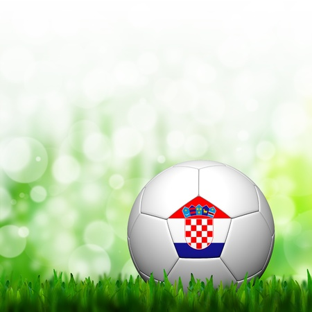 3D Football Croatia Flag Patter in green grass and background