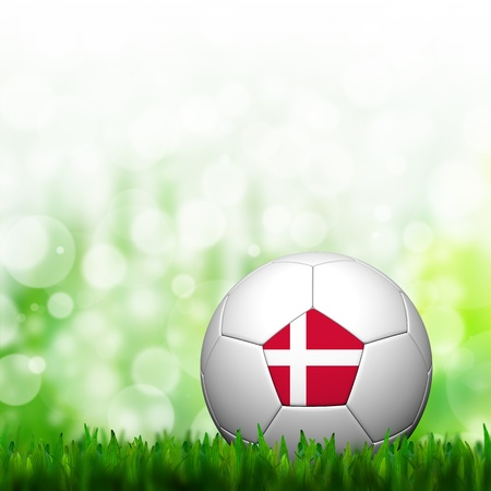 3D Football Denmark Flag Patter in green grass and background photo