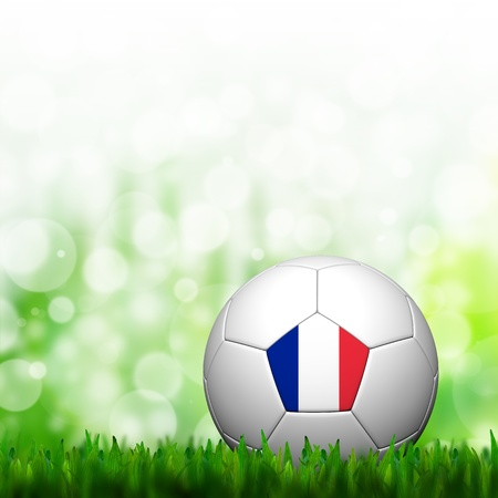 3D Football France Flag Patter in green grass and background