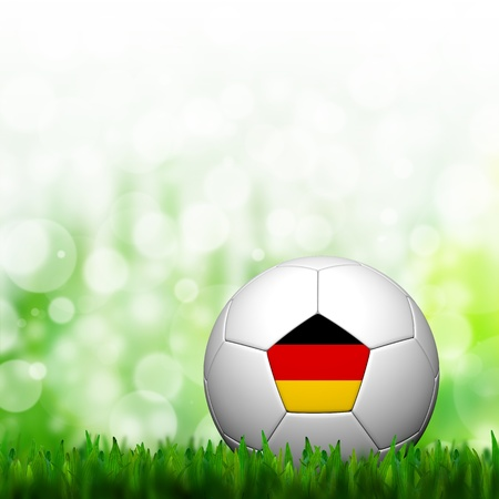 3D Football Germany Flag Patter in green grass and background