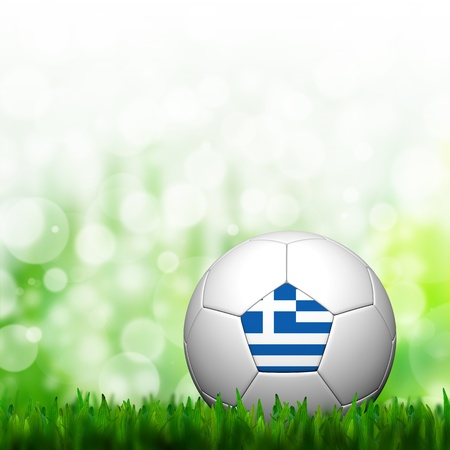 3D Football Greece Flag Patter in green grass and background