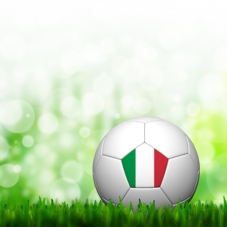 3D Football Italy Flag Patter in green grass and background photo