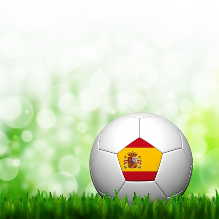 3D Football Spain Flag Patter in green grass and background
