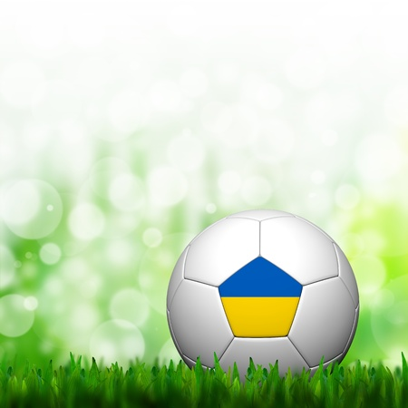 3D Football Ukraine Flag Patter in green grass and background photo