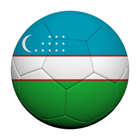 uzbekistan: Uzbekistan Flag Pattern 3d rendering of a soccer ball  Stock Photo
