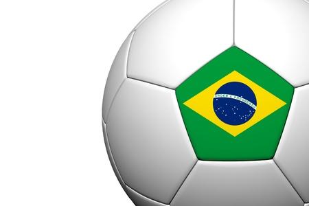 Brazil  Flag Pattern 3d rendering of a soccer ball Stock Photo - 14187094