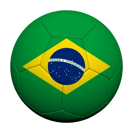 Brazil Flag Pattern 3d rendering of a soccer ball  Stock Photo - 14187077