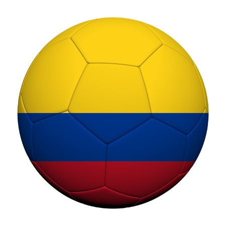 Colombia Flag Pattern 3d rendering of a soccer ball  photo