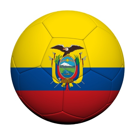 Ecuador Flag Pattern 3d rendering of a soccer ball