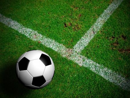 Voetbal (voetbal) in het groene gras veld. Stockfoto