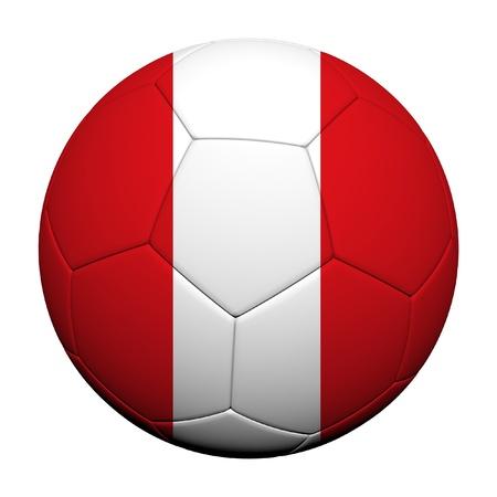 bandera peru: Bandera de Per� Patr�n 3d prestaci�n de un bal�n de f�tbol Foto de archivo