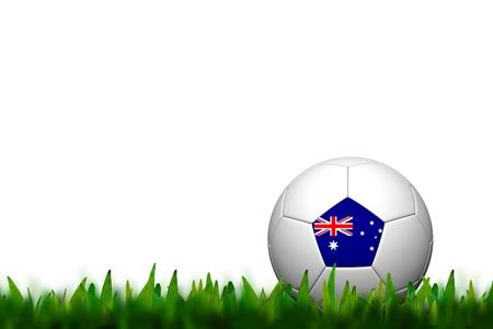 3D Soccer balll Australia Flag Patter on green grass over white background Stock Photo - 14187428