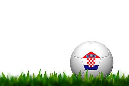 3D Soccer balll Croatia Flag Patter on green grass over white background photo
