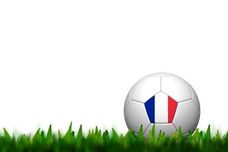 3D Soccer balll France Flag Patter on green grass over white background photo